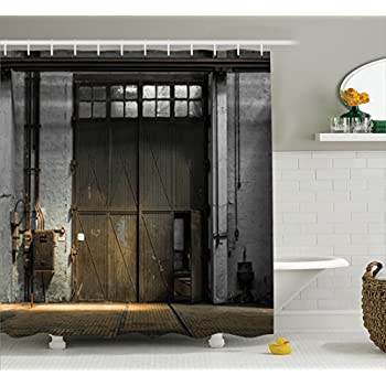 Amazon.com: Ambesonne Industrial Decor Shower Curtain Set, Enter Of ...