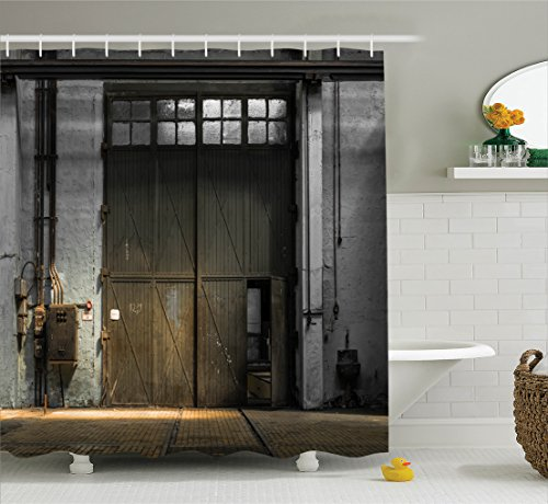 Ambesonne Industrial Decor Shower Curtain Set, Enter of An Old Factory Building from 50s with Broken Rusty Door Empty Storage Photo, Bathroom Accessories, 75 Inches Long, Grey (1950s Photo)