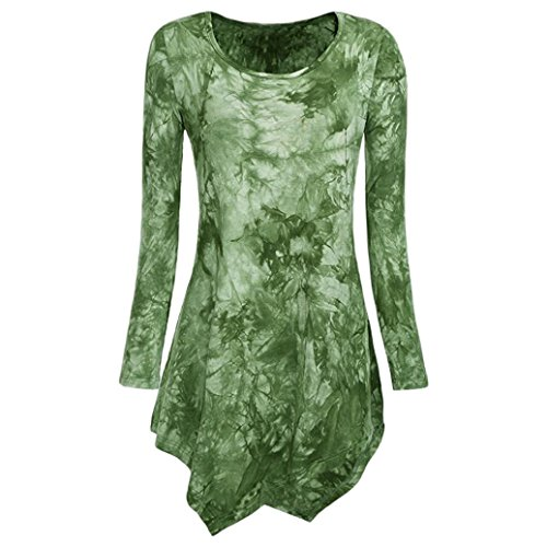 iLH® Lightning Deals Tunic Top,ZYooh Women Long Sleeve O Neck Tie Dyed Hankerchief Hemline Blouse T-Shirt (Green, L)