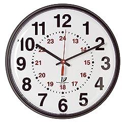 The Chicago Lighthouse Slimline 12/24-Hour Quartz Wall Clock, Black