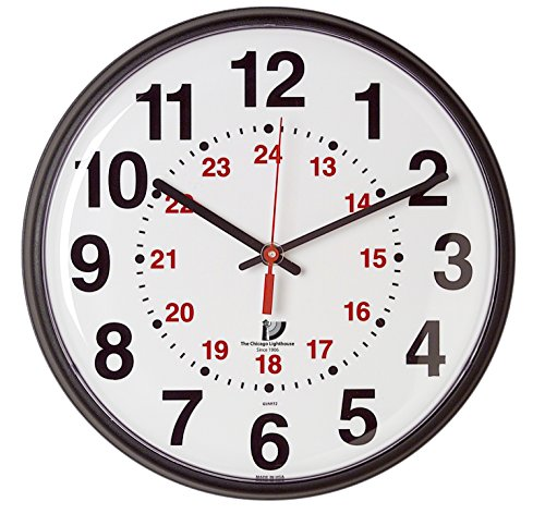 THE CHICAGO LIGHTHOUSE Slimline 12/24-Hour Quartz Wall Clock, Black