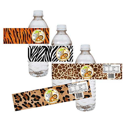 Jungle Safari Party Water Bottle Labels - Animal Print Baby Shower Party Drink Stickers - Set of 12 ()