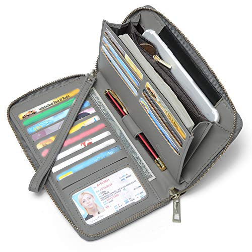 (Women Wallet Large Capacity Leather Zipper Around Clutch Card Holder Organizer Ladies Travel Purse with Removable Wristlet Strap gray)