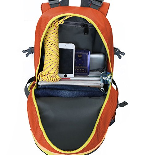 40L al aire libre deporte mochila resistente al agua senderismo mochila mochila para escalar alpinismo camping pesca viajes ciclismo esquí (Black) Orange