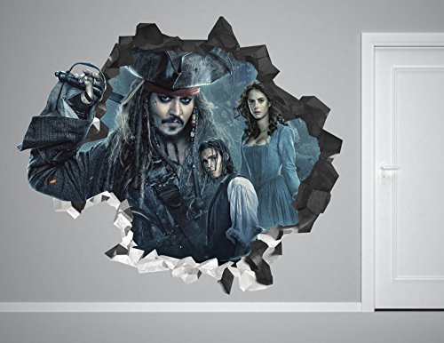 Pirates Of The Caribbean Dead Men Tell No Tales Wall Decal Smashed 3D Sticker Vinyl Decor Mural Movie - Broken Wall - 3D Designs - AH80 (Small (Wide 22