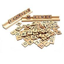 Allure Maek 300pcs Wood Letters Scrabble Tiles & 3 Pcs Letter Racks ,Tile Games,Wood Pieces,Tile Racks, Wooden Rack Holders, Great for Crafts