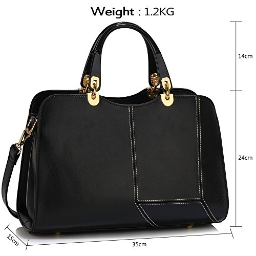 LeahWard® Damen Mode Desinger Qualität Tragetaschen Damen Modisch Schnell verkaufend Handtaschen CWS00319 (Schwarz Block PatchArbeit greifen Taschen)