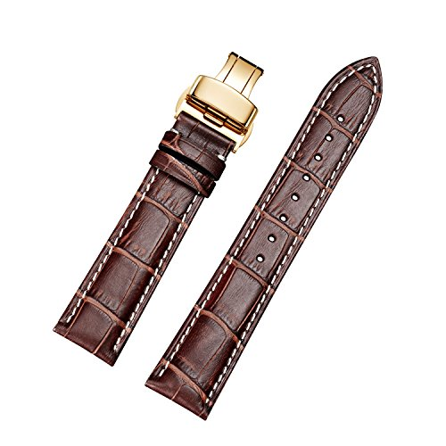 EHHE ZPF Calfskin Leather Replacement Watch Bands with Gold Deployment Buckle for Men and Women (Genuine Omega Buckle)