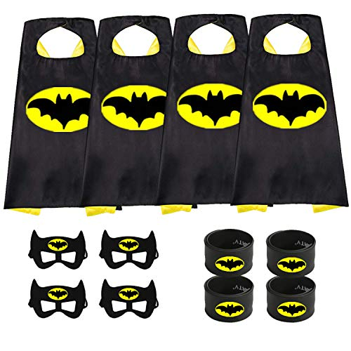 Munfa Superheros Cape and Mask Costumes 4 Set Includes Bonus Matching Wristbands for Kids (Multicolored) (Multicolored) (Boy, Batman) -