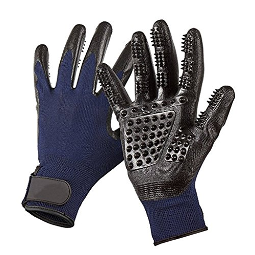 Pet Grooming Mitt Glove -Gentle Deshedding Glove Heavy Duty Deshedding Tool For Cats, Dogs & Horses Short, Long Hair Removal - Pair Of Left & Right Black Mitt,Blue,5Pair by LCYCN (Image #6)
