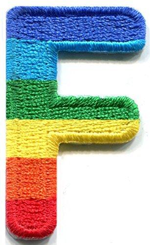 Letra J Gay lesbiana LGBT Rainbow Inglés alfabeto bordado Applique parche para planchar ((arco
