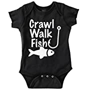 Crawl Walk Fish Funny Shirt Fishing Idea Bass Lure Romper Bodysuit