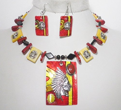 Southwestern Indian Chief Necklace Earrings Coral Agate Mother of Pearl One of a Kind
