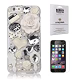 iPhone 6 Case, Fairy-Tale Series, Armybee(TM) Bling Rhinestone iPhone 6[4.7] Case Pearl Crystal Diamond Love Flowers - 3D Bling Case Cover Skin