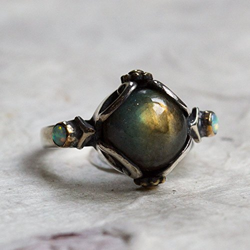Labradorite engagement ring Silver gold bohemian jewelry Multistone gypsy ring - Peace On Earth - R2216 by ArtisanLook