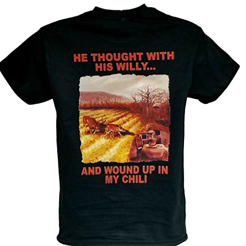 Whitetail Tees Men's Funny Hunting tee Shirt He Thought with his Willy and Wound up in My Chili (Large Black)