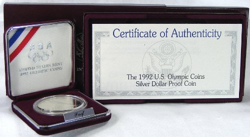 1992 Proof Olympic Commemorative Silver Dollar w/Box
