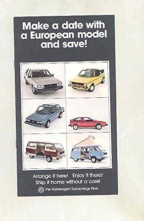Volkswagen European Delivery >> Amazon Com 1982 Volkswagen European Delivery Brochure Scirocco