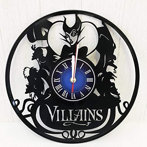 Disney Villains Wall Clock Made from 12 inches / 30 cm Vintage Vinyl Record | The Disney Movie | Disney Villains Gift Women Boys Girls | The Walt Disney Gift -