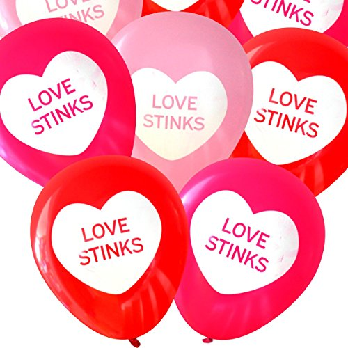 Love Stinks Latex Balloons (16 pcs) | Anti-Valentine's Day | by Nerdy Words (Red & Pinks)