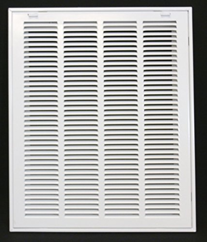 16'' X 20 Steel Return Air Filter Grille for 1'' Filter - Removable Face/Door - HVAC DUCT COVER - Flat Stamped Face - White [Outer Dimensions: 18.5''w X 22.5''h] by HVAC Premium