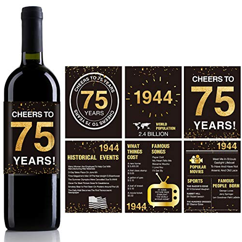 75th Birthday Wine Bottle Labels