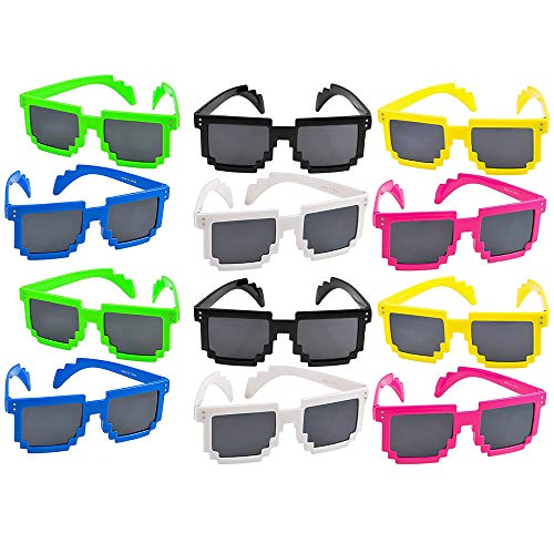 - Colorful Pixel Glasses - 12 Pack Unisex Gamer Reflective Lens in Assorted Colors - Gift Ideas, Costume Props, Party Favors, Class Rewards, Getaway Accessories for Kids and Adults Alike