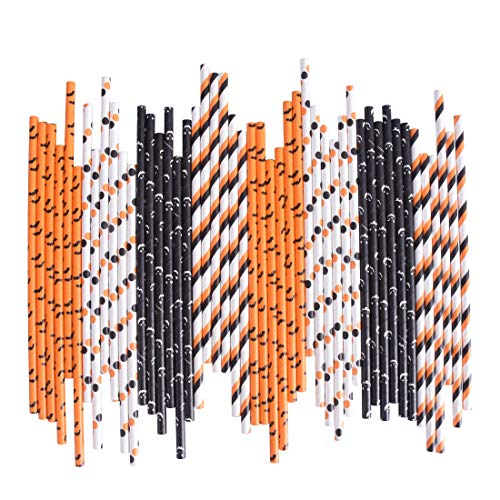 Halloween Paper Straws (Halloween Paper Straws Bulk Biodegradable Disposable Drinking Black White Orange Bat Striped Ghost Polka Dot for Party Supplies,)