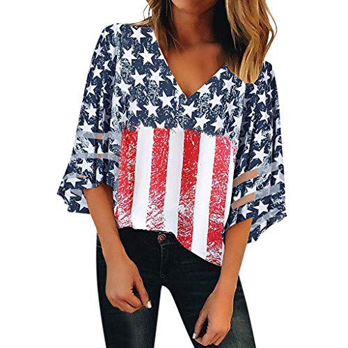 WOCACHI Womens 4th of July American Flag V Neck Mesh Panel Blouses 3/4 Bell Sleeve Tops Shirt 2019 New Summer Sales Under 10 Dollars Deals ()