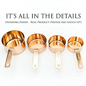 Copper Measuring Cup Set – Set of 4 Copper Plated Stainless Steel Measuring Cups. Polished Finish, Rust Resistant, Engraved Size and Precise Measurement. Classic Kitchen Accessories.