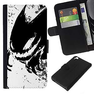 YiPhone /// Tirón de la caja Cartera de cuero con ranuras para tarjetas - Monstruo Negro - HTC Desire 820