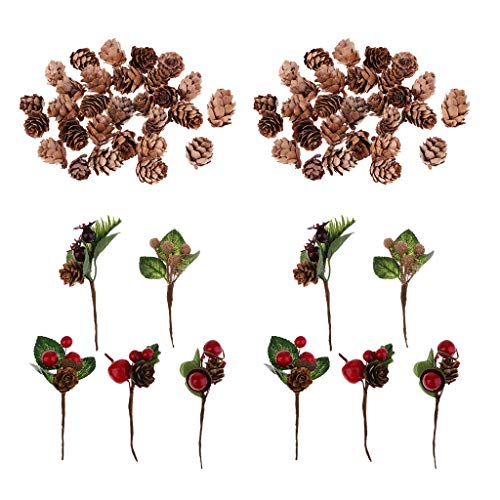 SM SunniMix 70 Pack Artificial Flowers Red Berries Pine Cones Wedding Party Favors Decorations Table Ornaments DIY Greeting Card, Invitation Card, Gift Package