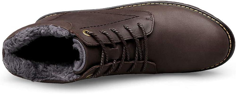 CHENDX Scarpe, Moda Uomo Classico Tinta unita Stivaletti Casual Stile Britannico In Pile Foderato Stivali Nero Caldo