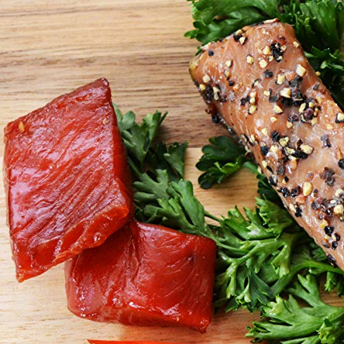 Wild Caught Canadian Maple Smoked Wild Sockeye Salmon Nuggets and Indian Candy Fish Combo (1 Lbs Each (Tot 2 Lbs))