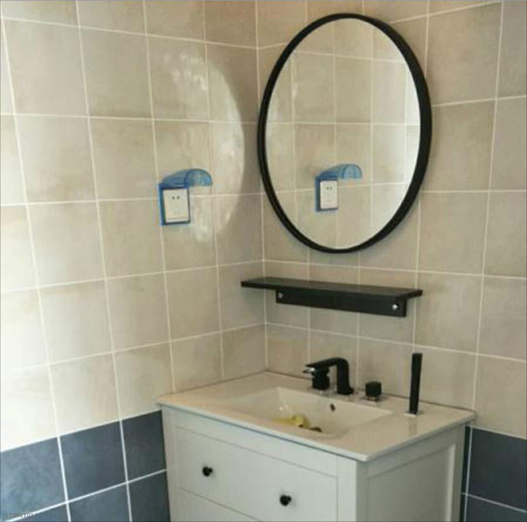 Mirror Espejo Espejo Espejo - Espejo de baño, Espejo de cortesía Redondo de Pared, Espejo de Plata, Estructura de Metal 91aeb8