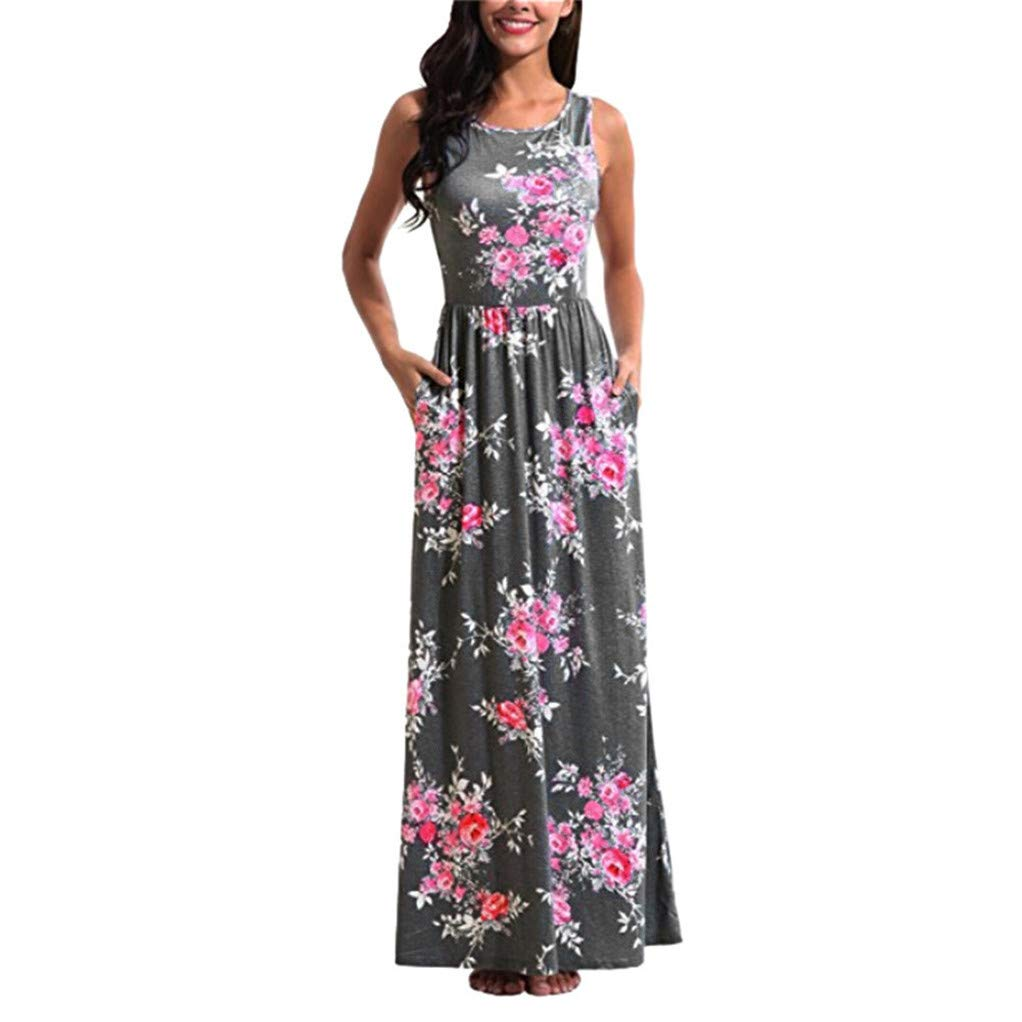 Hessimy Maxi Dresses for Women,Womens Crew Neck Sleeveless Summer Floral Maxi Dress with Pockets