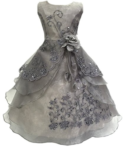 Shiny Toddler Little Girls Embroidered Beaded Flower Girl Birthday Party Dress with Petticoat 5t-6t,Grey