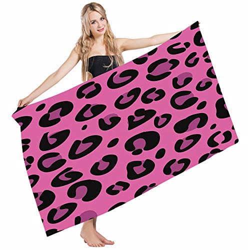 Mugod Beach Towel Bath Towels Hot Pink Leopard Animal Skin in Abstract Style Wild Safari Jungle Yoga/Golf/Swim/Hair/Hand Towel for Men Women Girl Kids Baby 64x32 -