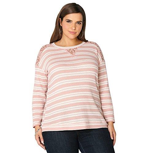 Avenue Women's Lace Trim Stripe Sweatshirt, 22/24 Light Pink