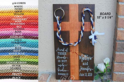 Personalized board display, Knot-tying ceremony, Ecclesiastes 4:12, Christian wedding ceremony -
