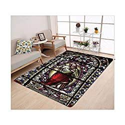 Kisscase Custom carpet Sacred Heart of Jesus Pictures for Living Room Decoration Catholic Gifts Believe Art Christian Wall Decor Church Cathedral Window View Silky Satin Red Black White Blue