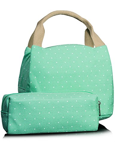 Leaper Lunch Bag for Kids, Cute Lunch Box Lunch Bags Pencil Case Pencil Bag 2 PCS (Water Blue)