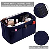 Purse Organizer Insert, Felt(3MM) Fabric Bag Organizer for LV Neverfull, LV Speedy, Purse Handbag Tote Bag, 3 Sizes, 8 Colors (medium, Purplish Blue)