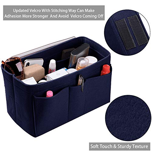 Purse Organizer Insert, Felt(3MM) Fabric Bag Organizer for LV Neverfull, LV Speedy, Purse Handbag Tote Bag, 3 Sizes, 8 Colors (medium, Purplish Blue) by ETTP (Image #7)