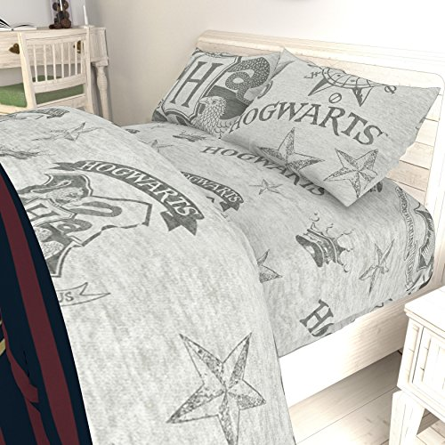 Ln 4 Piece Light Grey Harry Potter Sheets Full Set, Gray Movie Hogwarts Bedding HP Fans Glasses Potterheads Wizard Themed Quidditch, Polyester (Potter Harry Sheets)
