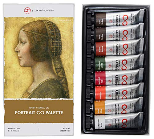 Michael Art Supply (Non-Toxic Oil Paints for Professional Artists - 8 x Large 45ml Tubes - Portrait Palette of Eco-Friendly Paint with Exceptional Pigment and Lustrous Sheen - The Infinity Series by)