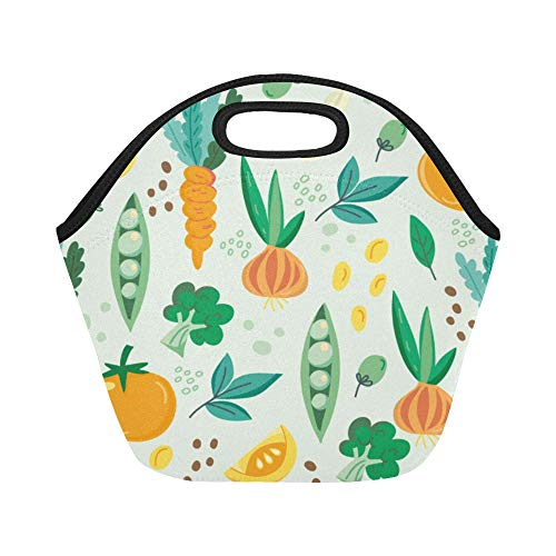 Insulated Neoprene Lunch Bag Fruit And Vegetable Harvest Sweet Large Size Reusable Thermal Thick Lunch Tote Bags For Lunch Boxes For Outdoors,work, Office, School