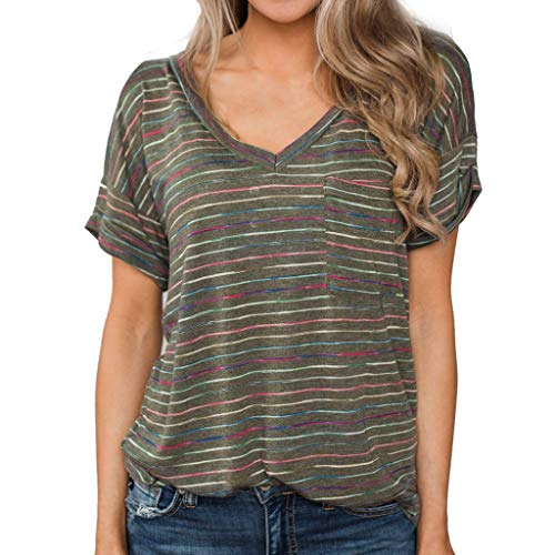 Aniywn Stylish Women Loose Casual Short Sleeve Tops Summer Stripe Printed V Neck Pullover Tunic T-Shirt Green