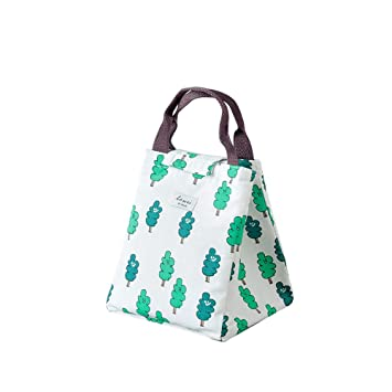 DTOWER Bolsas Almuerzo,Bolsa de Lona Portátil de Almuerzo Reutilizables Bolsas de para el Trabajo/Escuela/Picnic,Verde Oscuro 17 * 19 * 32cm