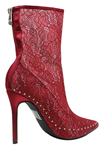 Cape Boot Womens Mid Sheer CR Lace Flower Robbin Red Calf Stiletto xgRwT4FPnq